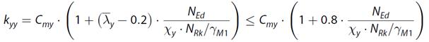 Interactie factor kyy volgens tabel B.2 - Bijlage B van EN 1993-1-1