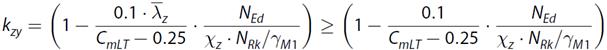 Interactiefactor kzy volgens artikel 6.3.3