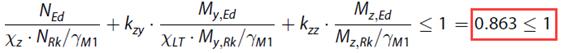 Controle volgens vergelijking 6.62 van artikel 6.3.3. van NEN-EN 1993-1-1
