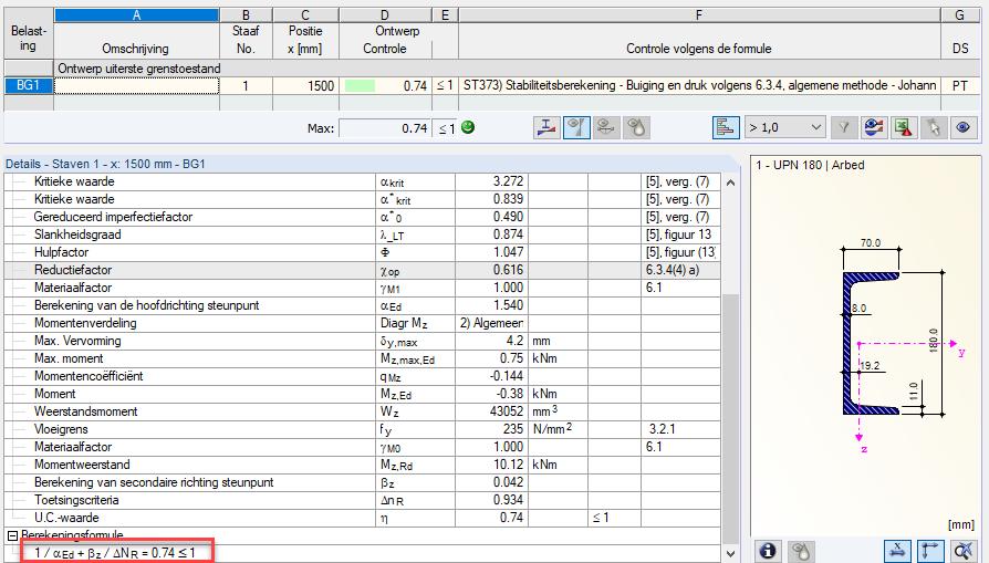 Resultaat van de normcontrole volgens de Eurocode 3 voor scheve buiging op een U-profiel
