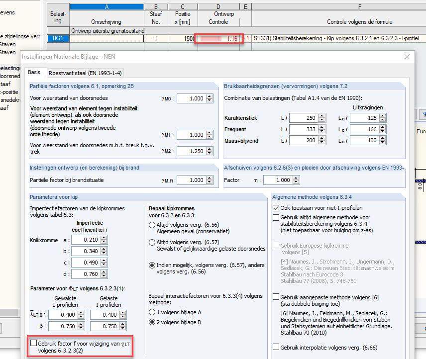 Invloed van de aanpassingsfactor f op de normcontrole volgens de Eurocode 3